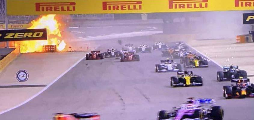 Grosjean survives massive crash at Bahrain GP won by Hamilton
