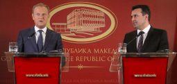 Makedonya'yı ziyaret eden Avrupa Konseyi Başkanı Tusk: İsim sorunun çözümünde şartsız desteğim sizlerle olacak..