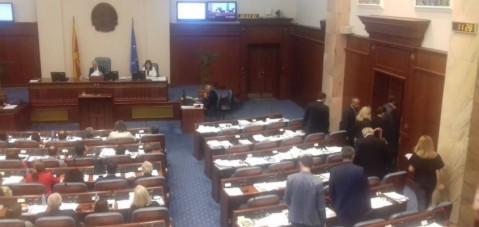 VMRO-DPMNE, Yunanistan anlaşmasının Meclis çalışmalarını boykot etti..