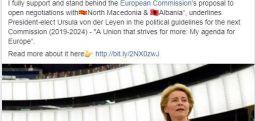 Presidentja e re e KE: Mbështes hapjen e negociatave me Maqedoninë e Veriut dhe Shqipërinë