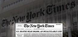 Насловната страна на Њујорк Тајмс со имиња на починати од Ковид-19